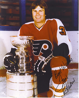 Tom Bladon Philadelphia Flyers signed 8x10 with Stanley Cup Broad Street Bullies