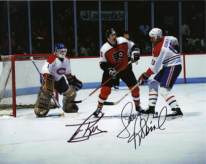 Tim Kerr Flyers Larry Robinson Canadians dual autographed 8x10 playoffs