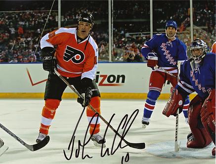 John LeClair signed Philadelphia Flyers 2011 Winter Classic Alumni action 8x10