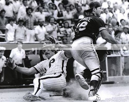 MIKE SCHMIDT PHILADELPHIA PHILLIES UNSIGNED 8X10 SLIDING INTO HOME PLATE