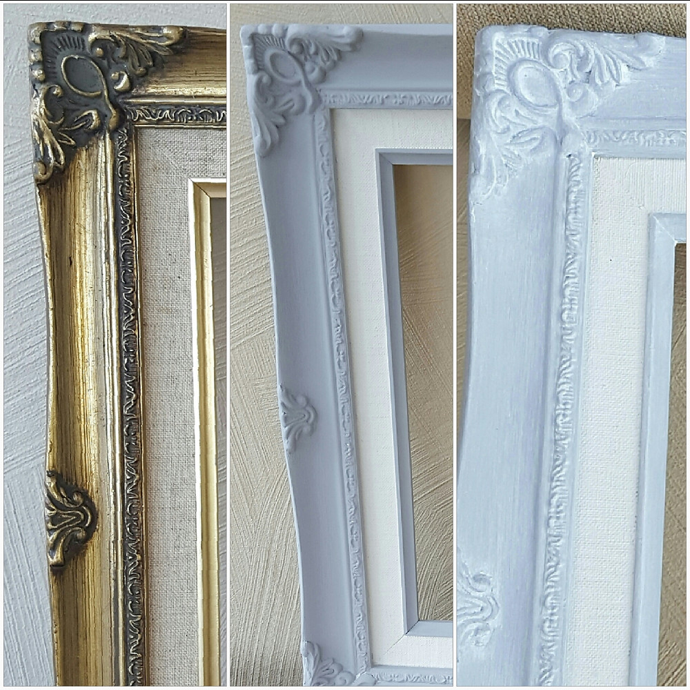 It's amazing what you can do with an old frame and a tin of paint.  I have used Frenchic® Grey Pebble and Ivory Tower and finished with White Wax