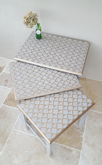 Nest of tables painted with Frenchic Salt of the Earth with Hearts of Morocco stencil