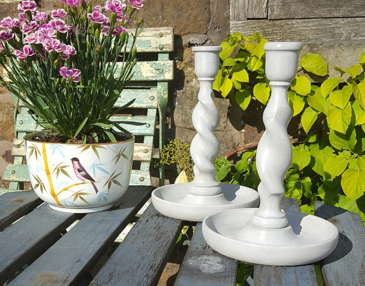 Candlesticks painted with Frenchic Sugar Puff