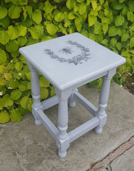 Side table painted with Frenchic Grey Pebble, bee image transfer