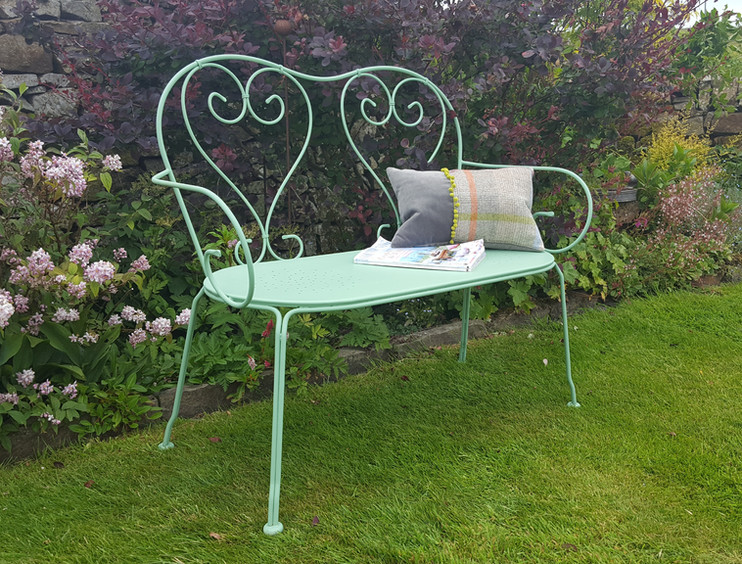 Garden bench painted with Frenchic Apple of my Eye