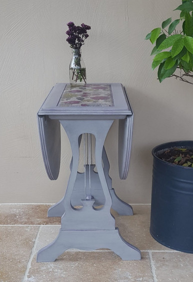 Drop leaf table painted with Frenchic Grey Pebble and Plum Pudding, decoupage top