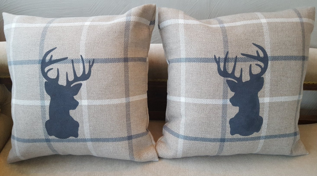 Cushions, stag stencil painted with Frenchic Panther