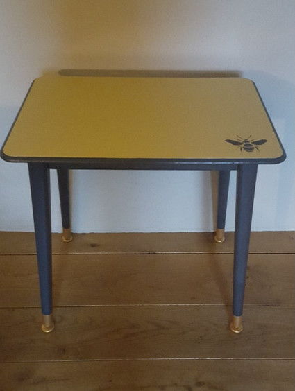 Side table painted with Frenchic Panther and Hot as Mustard with bee stencil