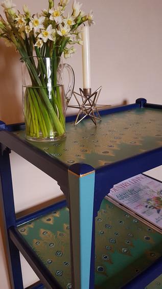 Tea trolley painted with Frenchic Hornblower and Anguilla with peacock decoupage