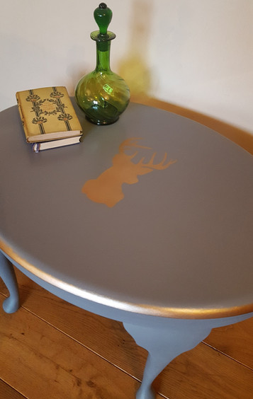 Coffee table painted with Frenchic Greyhound and Cool Copper stag
