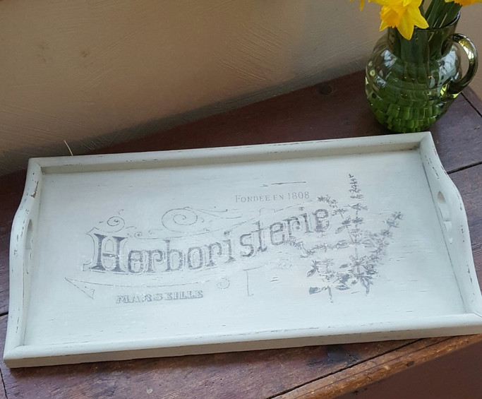 Tray painted with Frenchic Wedgewood Green with image transfer