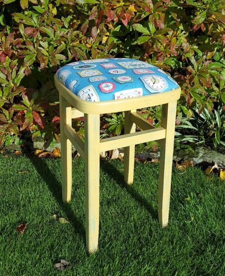 Kitchen stool painted with Frenchic Hot as Mustard
