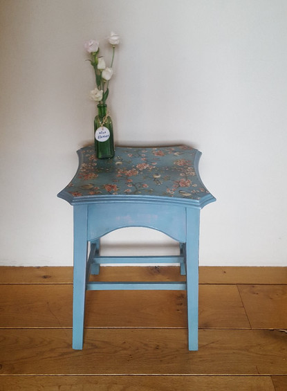 Side table painted with Frenchic Anguilla with decoupage