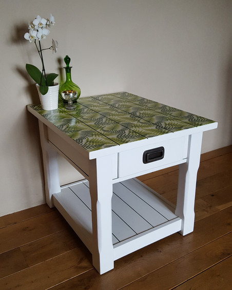 Side Table painted with Frenchic Wedding Cake, fern decoupage top