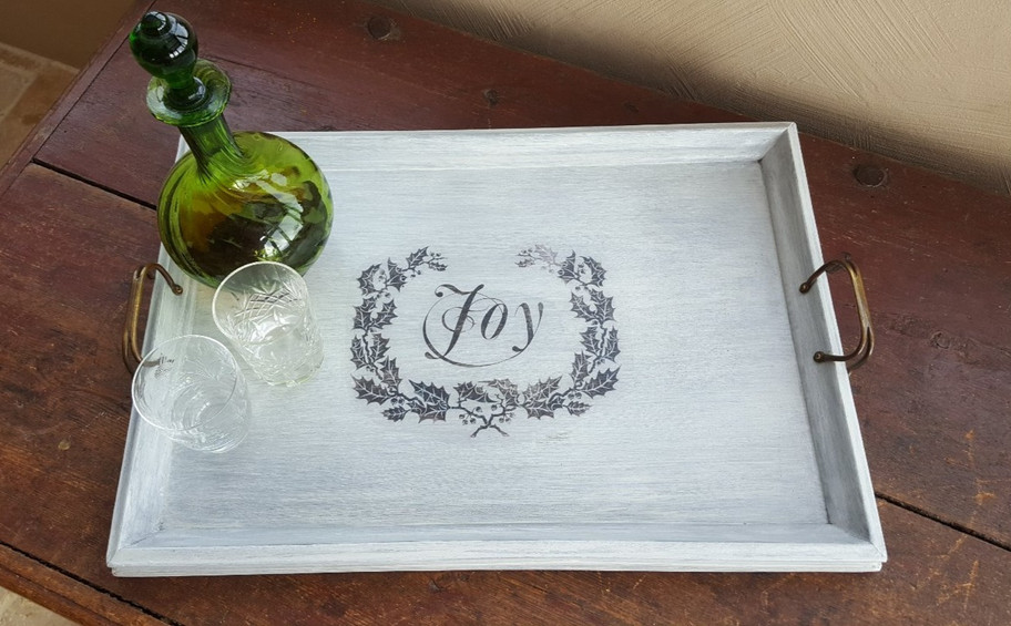 Tray painted with Frenchic Grey Pebble with holly image transfer