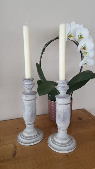 Candlesticks painted with Frenchic