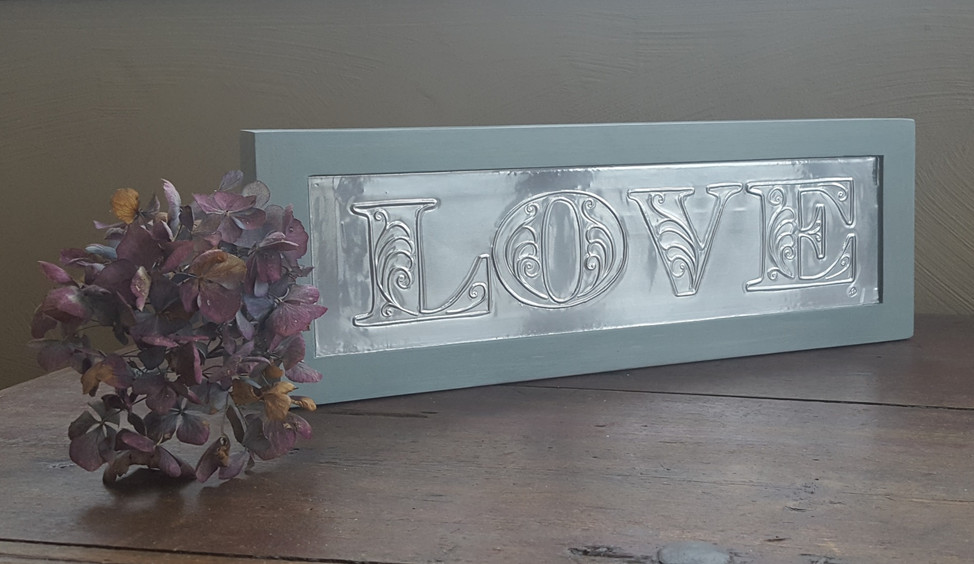 LOVE sign, hand embossed aluminium, painted with Frenchic Mother Duck