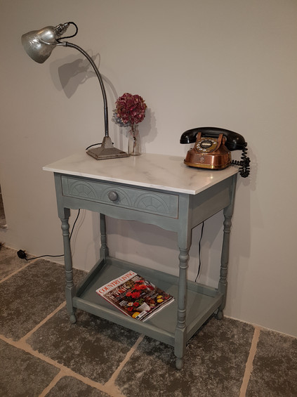 Hall table with faux marble top