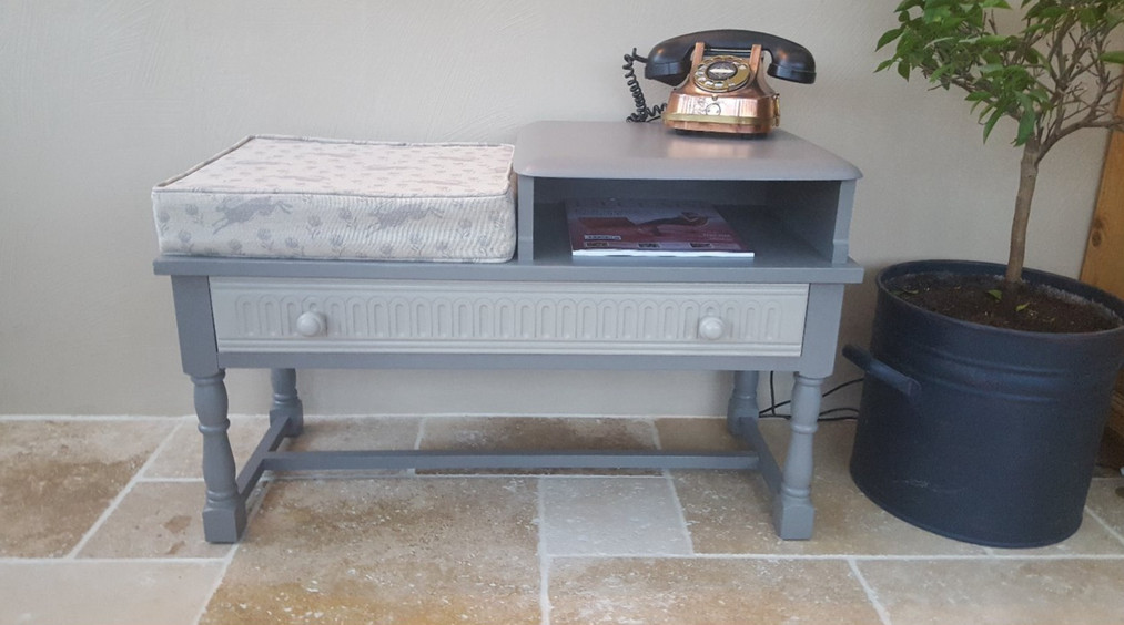 Telephone table painted with Frenchic Lady Grey and Salt of the Earth