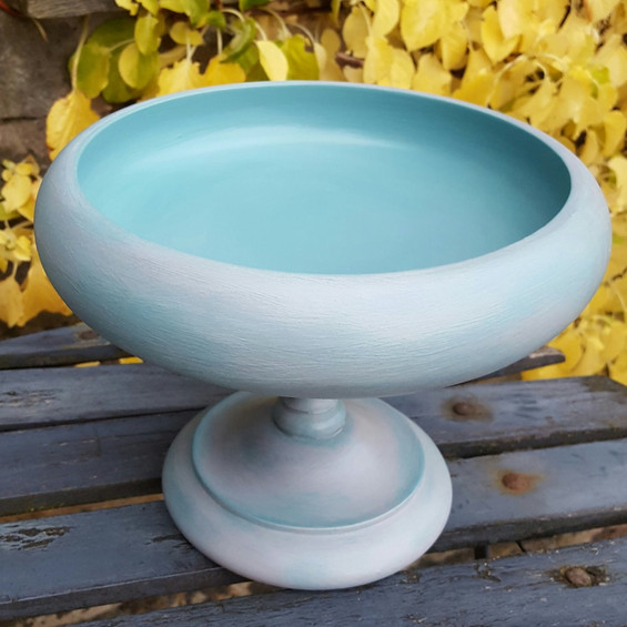 Wooden bowl painted with Frenchic Anguilla and Grey Pebble