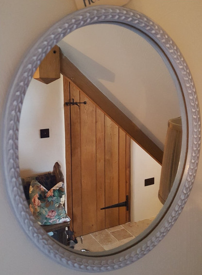 Mirror painted with Frenchic Grey Pebble, sealed with white wax