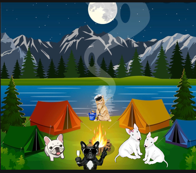 Campfire Pet Spaw - Dogs hanging out at campsite around a campfire with a cat trying to fish.