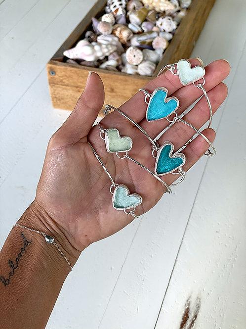 Sea Glass Heart Bracelets