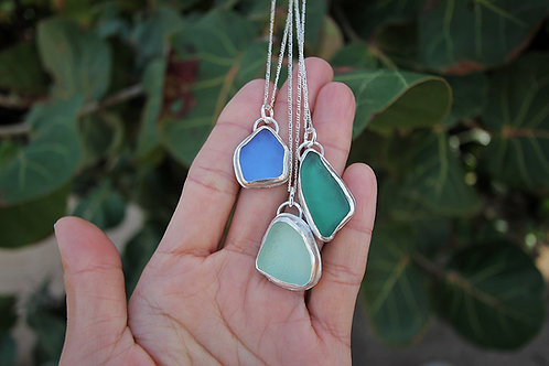 Sea Glass Bezel Necklace