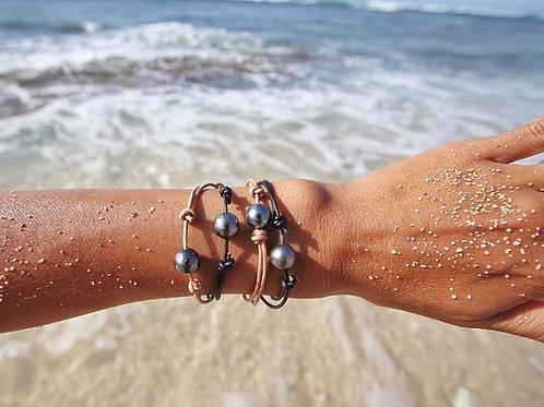Surfer Adjustable Tahitian Pearl Bracelet - Unisex