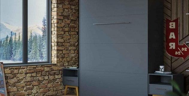Smartbett opklapbed verticaal 160 x 200 grijs