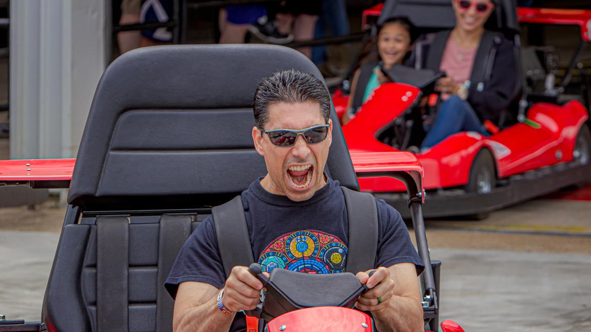 Racing on Thunder Speedway - Fun Land of Fredereicksburg - Virginia's only multi-level go-kart track