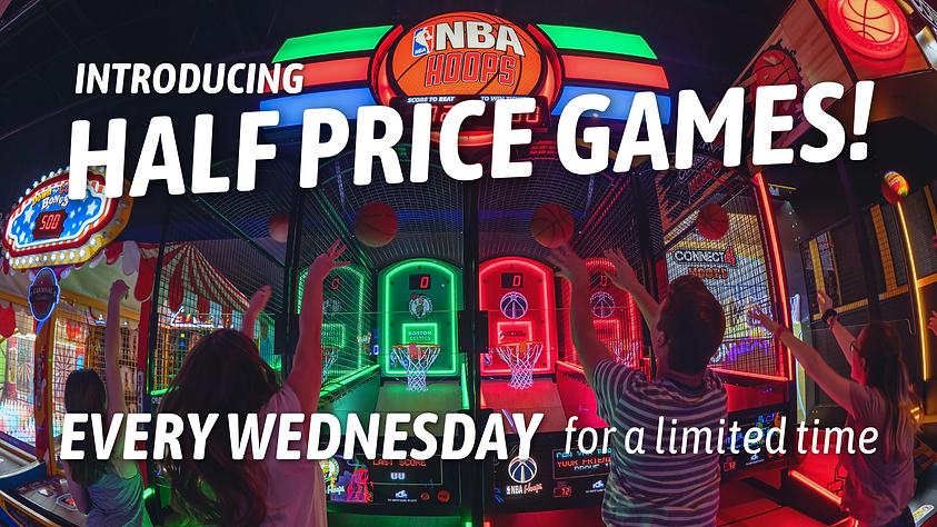 Half price arcade games, kids playing basketball game at Fun Land of Fairfax