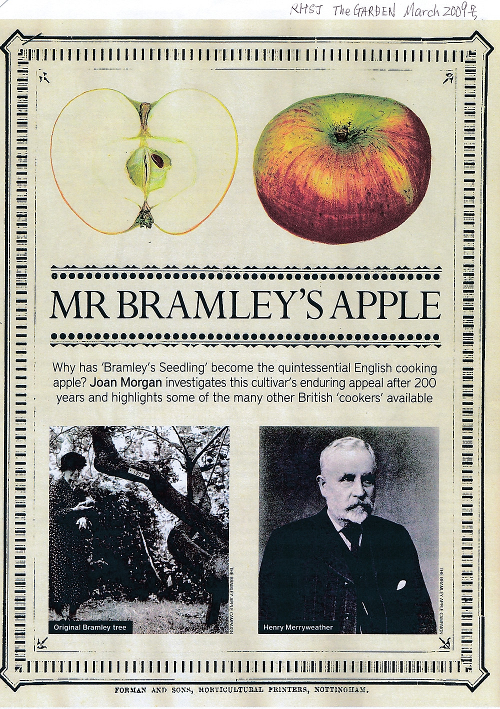 右がセリアさんの曽祖父、メリーウエザー氏 左がブラムリーの樹齢200年になる原木