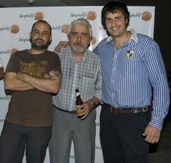 Nico, Mario Fuentes y Leo Pagliaro en una fiesta de Simphony