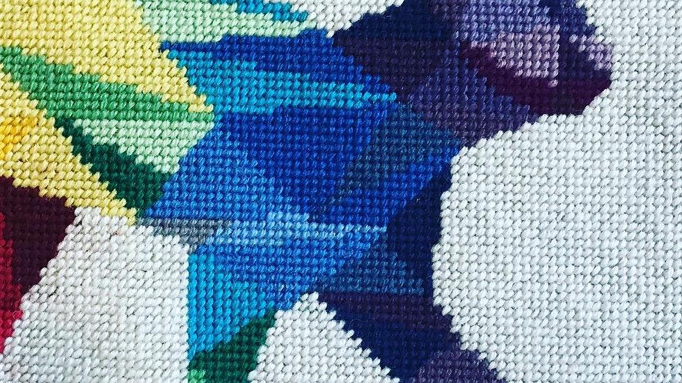 Geometric rainbow cat tapestry cushion kit