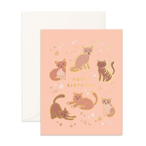 Card Happy Birthday Cats