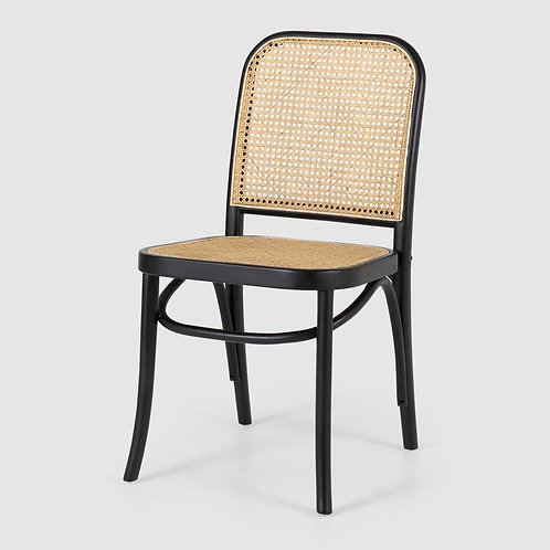 Woven Rattan Dining Chair - Black Frame
