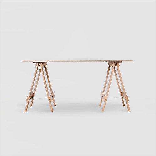 Oak Plywood Trestle Desk