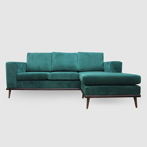 Franses Velvet Wide Arm Sofa Chaise