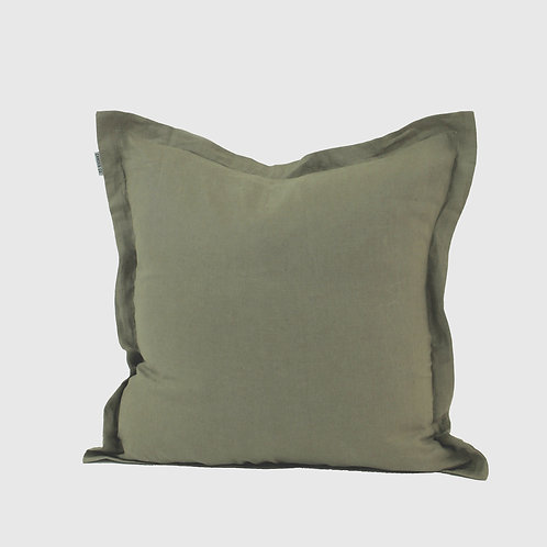 Green Moss French Linen 50x50 Cushion with Feather Inner