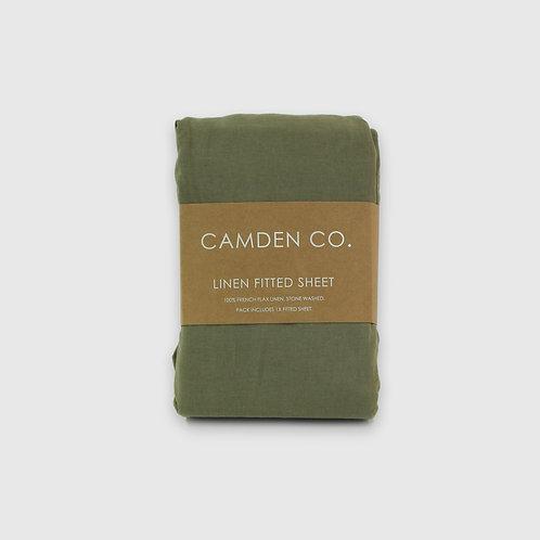 Linen Fitted Sheet - Green Moss