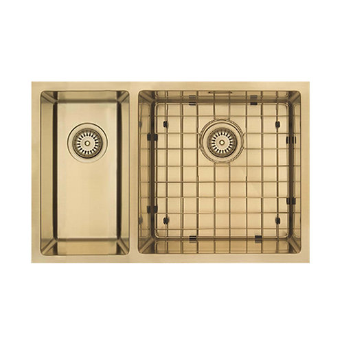 Mercer Aurora Series Coloured Stainless Double Sink- Brass 400+200 LEFT