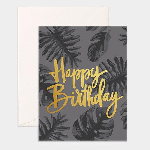 Card Happy Birthday Gold