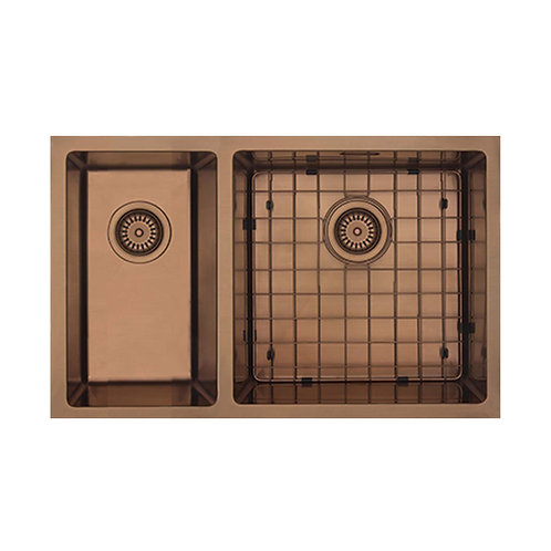 Mercer Aurora Series Coloured Stainless Double Sink - Copper 400+200 LEFT