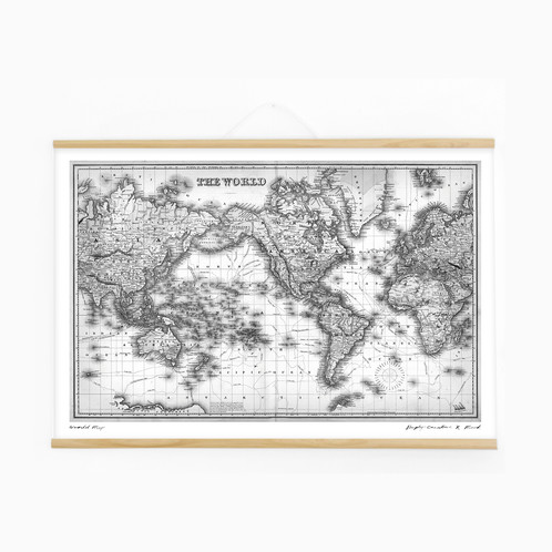 World Map Print With Poster Hanger A - A1 world map poster
