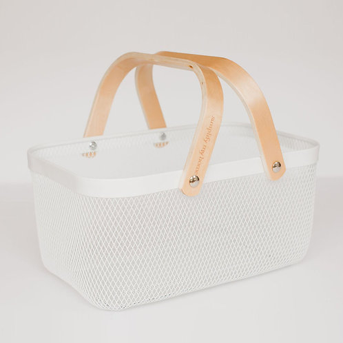 Wire & Bamboo Basket - Double