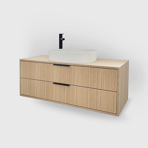 Boxed 2 Drawer Stacked Oak Plywood Vanity