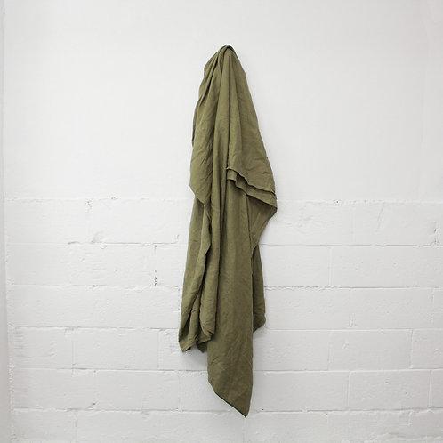 Linen Flat Sheet - Green Moss