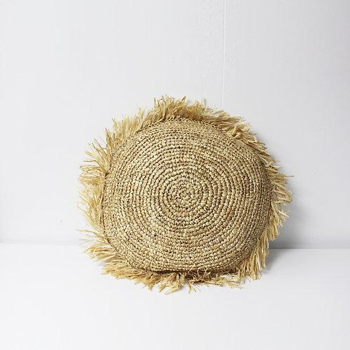 Straw with Fringe Round Cushion