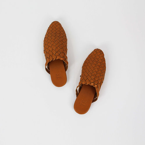 Eve Woven Tan Leather Slide
